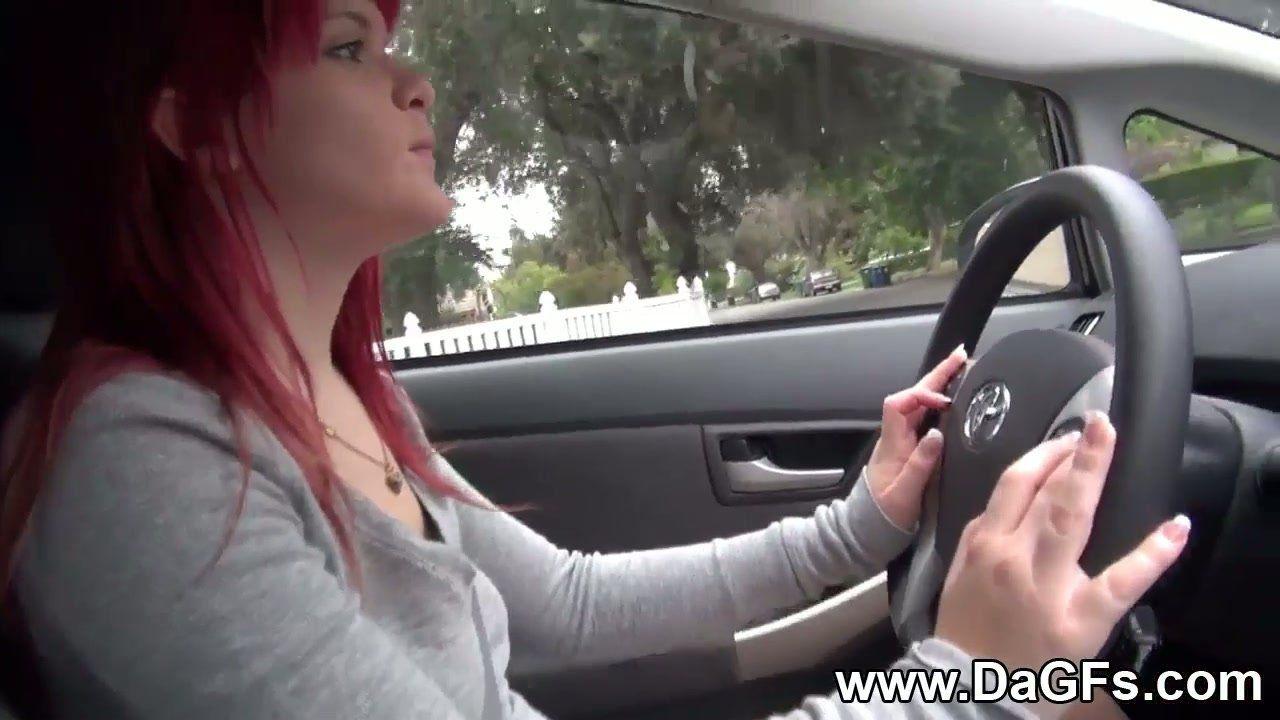 best of Car redhead masturbates