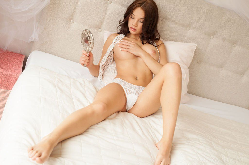 Girl playing titties